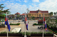 Siem Reap. CAMBODIA - DEC 28, 201:View on the city's main street in  at morning.  is Cambodia's main tourist cities, World Seven Wonders of Angkor Wat in Stock Images