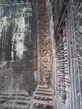 Relief of rare animal or Stegosaurus in Ta Prohm, Siem Reap. Siem Reap,Cambodia-December 23, 2017: Relief of Stegosaurus or an unknown animals is found on a Royalty Free Stock Image