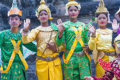 SIEM REAP,CAMBODIA-Feb 24, 2015:An unidentified cambodians in na Royalty Free Stock Photos