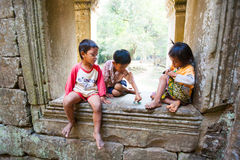 SIEM REAP, CAMBODIA- FEBRUARY 4, 2014: A group of unidentified Royalty Free Stock Photography
