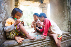 SIEM REAP, CAMBODIA- FEBRUARY 4, 2014: A group of unidentified Royalty Free Stock Photos