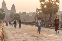SIEM REAP, CAMBODIA - FEBRUARY 27, 2015 : Unidentified people vi Royalty Free Stock Photo