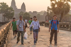 SIEM REAP, CAMBODIA - FEBRUARY 27, 2015 : Unidentified people vi Royalty Free Stock Photography