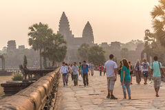 SIEM REAP, CAMBODIA - FEBRUARY 27, 2015 : Unidentified people vi Stock Image