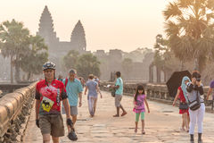 SIEM REAP, CAMBODIA - FEBRUARY 27, 2015 : Unidentified people vi Stock Photography