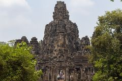 Siem Reap, Cambodia - 26 March 2018: Morning view of Bayon ancient temple in Angkor Wat complex, Cambodia. royalty free stock photography