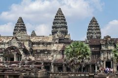 Siem Reap, Cambodia - 22 March 2018: Tourist in Angkor Wat temple, Cambodia. Angkor Wat view. stock images