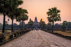 SIEM REAP, CAMBODIA - MARCH 8, 2017: Tourists visiting the Angkor Wat complex. Angkor Wat is the largest religious monument in the royalty free stock photography