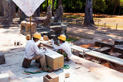 SIEM REAP, CAMBODIA - March 24, 2014 Unidentified men preserving Stock Photo