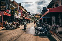 SIEM REAP, CAMBODIA- MARCH 22, 2013: View of Pub Street in Siem Reap in Cambodia Royalty Free Stock Image