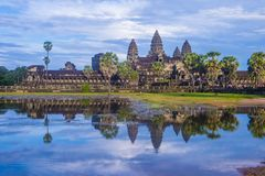 Angkor Wat Temple in Cambodia. SIEM REAP , CAMBODIA - OCT 17 : The Angkor Wat Temple in Siem Reap Cambodia on October 17 2017 , The Angkor Wat is an UNESCO World Royalty Free Stock Image
