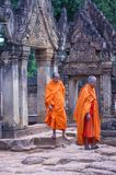 Banteay Srei Temple in Cambodia. SIEM REAP , CAMBODIA - OCT 17 : Monks at the Banteay Srei Temple near Siem Reap Cambodia on October 17 2017 , Banteay Srey is a Royalty Free Stock Images