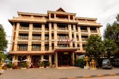 Architecture of Siem Reap, Cambodia. SIEM REAP, CAMBODIA - SEP 28, 2014: Hotel in Siemreap, Cambodia. Siem Reap is the capital city of Siem Reap Province and a Royalty Free Stock Photos