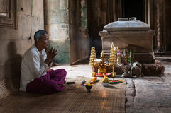 SIEM REAP, CAMBODIA- SEPTEMBER 8, 2012: holy man i. Holy man in Banteay Samre Temple in Siem Reap,Cambodia Stock Image
