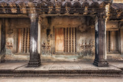 SIEM REAP, CAMBODIA.  The temple of Angkor Wat. Gallery with bas-reliefs on the walls. Royalty Free Stock Photo