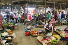Siem Reap Cambodia Wet Market. A crowded traditional wet market situated in small town, Siem Reap, Cambodia stock photo