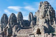 Siem Reap Cambodja - December 08 2016: Bayon tempel i Angkor Thom Royaltyfri Fotografi