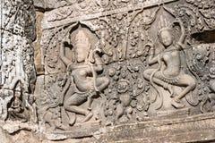 Siem Reap Cambodja - December 08 2016: Bayon tempel i Angkor Thom Royaltyfri Bild
