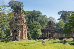 Siem Reap Cambodja - December 08 2016: Prasat Suor Prat i Angkor Th Arkivbilder