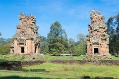 Siem Reap Cambodja - December 08 2016: Prasat Suor Prat i Angkor Th Royaltyfria Bilder
