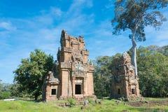 Siem Reap Cambodja - December 08 2016: Prasat Suor Prat i Angkor Th Royaltyfri Bild
