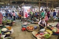 Siem Reap Cambodja våt marknad Arkivfoto