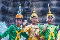 SIEM REAP, CAMBOGIA 24 febbraio 2015: Cambodians non identificati in Na Immagine Stock