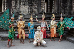 SIEM REAP, CAMBOGIA - 27 FEBBRAIO: Khme tradizionale non identificato Fotografie Stock