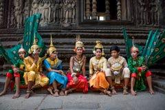 SIEM REAP, CAMBOGIA - 27 FEBBRAIO: Khme tradizionale non identificato Fotografia Stock Libera da Diritti