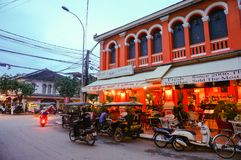 Pub Street, with many restaurants, coffee shops, and Street vendor here. Siem Reap city, Cambodia - August 3th, 2016:The views of street and alley in downtown Stock Images