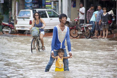 Siem Reap flooding Royalty Free Stock Photography