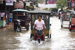 Siem Reap flooding Royalty Free Stock Photo