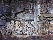 Siem Reap stone wall carving detail Stock Images
