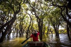 Siem Reap Tonle underminerar ritt för Kompong Phluk mangrovefartyg royaltyfri foto