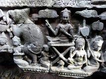 Siem Reap vägg som snider detaljen Fotografering för Bildbyråer