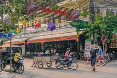 Lively street in Siem Reap royalty free stock photography