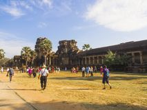 Siem Riep - Cambodia,  Tourist in Angkor Wat Te. Siem Riep - Cambodia, December 18, 2017 Tourist in Angkor Wat Temple Royalty Free Stock Photo