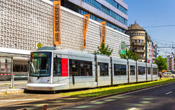 Siemens Combino tram in the city centre of Dusseldorf Stock Photos