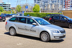 Siemens drives Skoda. Zug, Switzerland - 6 May, 2016: a Skoda car with the Siemens fahrt Skoda text in German painted on its side. English translation of this Royalty Free Stock Image