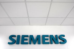 Siemens logo. And firm is displayed at the company's headquarters Stock Images