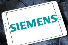 Siemens logo. Logo of german electronics company siemens on samsung tablet Stock Photos