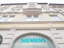 Siemens. Sign on a building with copy space above it Stock Photo