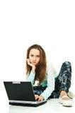 Siempre con la computadora portátil Imagen de archivo libre de regalías