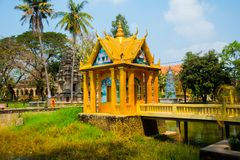 Siemreap,Cambodia.A small Golden temple. A beautiful old temple in the city Siemreap,Cambodia royalty free stock photography
