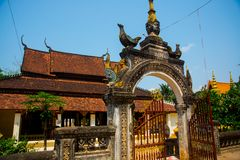 Siemreap,Cambodia.Temple and the gates. A beautiful old temple in the city Siemreap,Cambodia stock photography