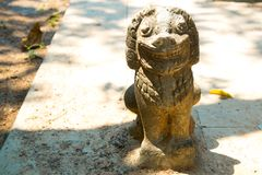 Siemreap,Cambodia.Temple and stone sculpture animals. A beautiful old temple in the city Siemreap,Cambodia royalty free stock photo