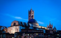 Siena. Cathedral (Duomo di ) at night, Italy.Historic centre of  is at Unesco World Heritage List Royalty Free Stock Images