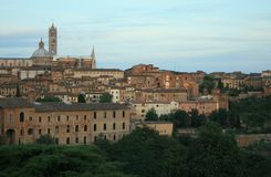Siena. Scenic sunset view of the city of Siena in Italy Royalty Free Stock Photos