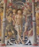Siena Baptistery - Fresko van de Flagellatie van Christus stock foto