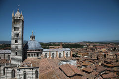 Siena cathedral. Aerial view of The cathedral in Siena, Italy royalty free stock photo